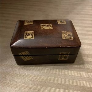 Vntg Florence Leather School Trinket/jewelry box
